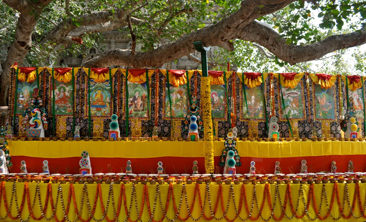 Offerings at the MahaTemple Complex in Bodh Gaya, India, site of the Buddha's enlightenment.